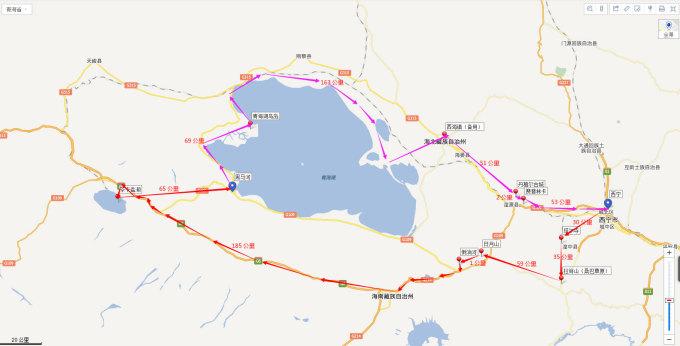第三天: 在西宁买东西,随便逛,晚上火车回西安  初步路线图如下